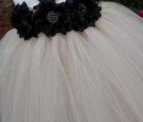 Flower girl dress. Nude with Black Flowers TuTu Dress, baby tutu dress, toddler tutu dress, wedding, birthday, Newborn, 2t,3t,4t,5t