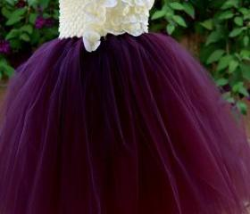 Flower girl dress Eggplant ,Plum ivory tutu dress, baby tutu dress, toddler tutu dress, wedding, birthday, Newborn, 2t,3t,4t,5t
