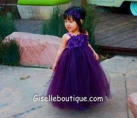 Flower girl dress Eggplant ,Plum tutu dress, baby tutu dress, toddler tutu dress, wedding, birthday, Newborn, 2t,3t,4t,5t
