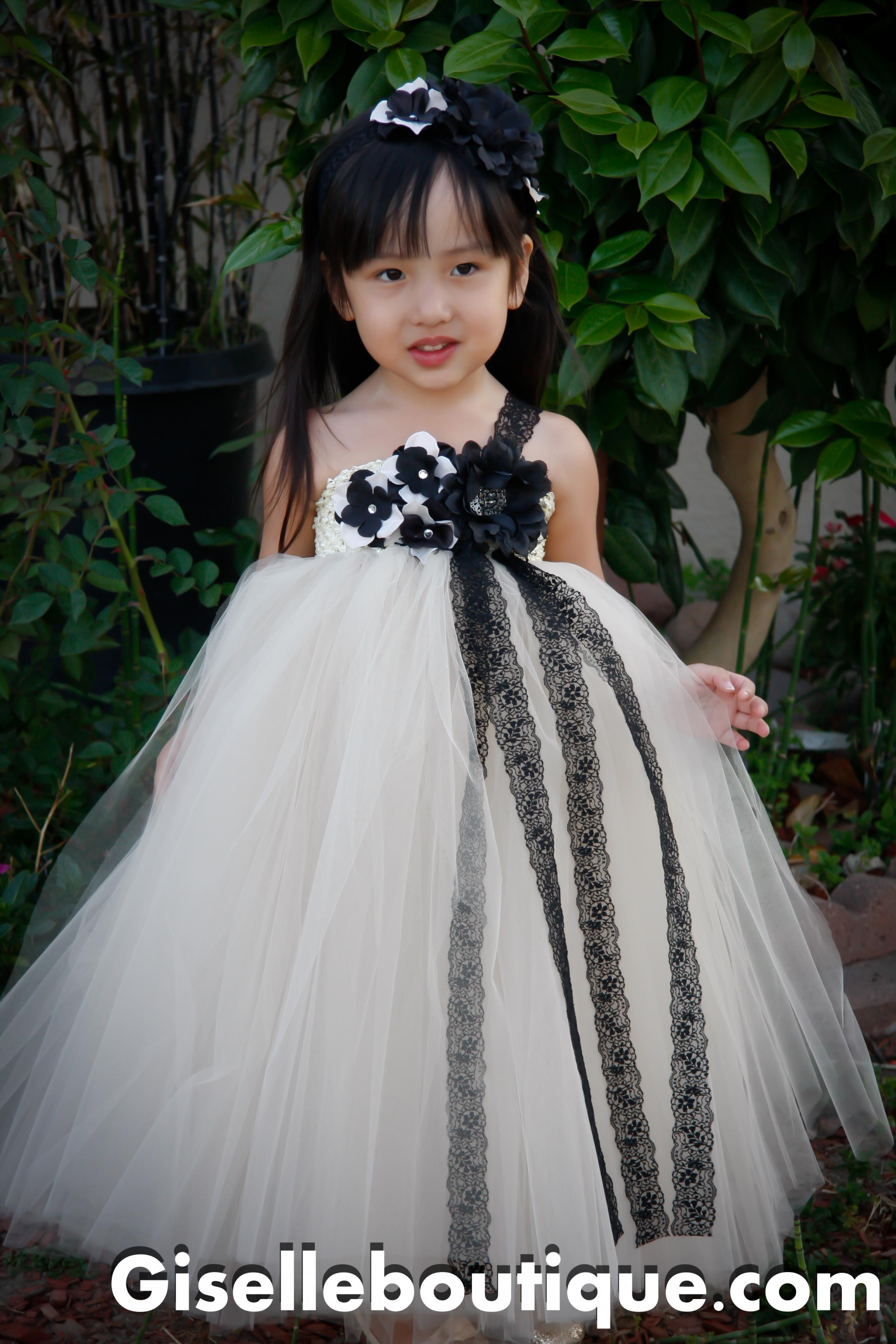 Flower Girl Dress Mesh With Black Lace Tutu Dress Baby Tutu Dress Toddler